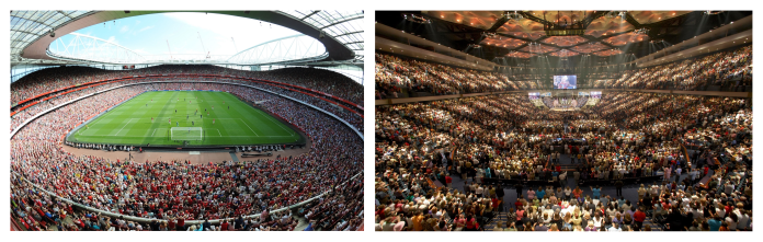 Two stadiums of worship